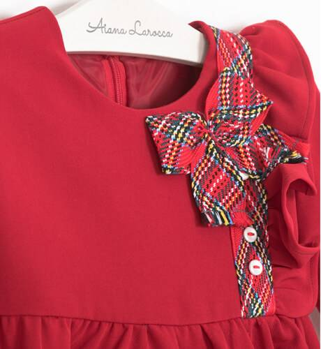 Vestido niña rojo detalle tartán de Yoedu | Aiana Larocca