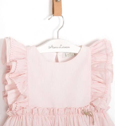 Vestido niña rosa plumeti volantes hombro de Marta y Paula | Aiana Larocca