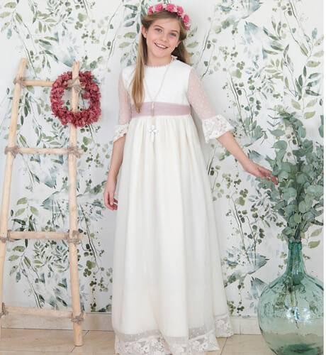 Vestidos de comunion de plumeti 2019