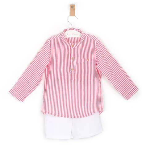 -NUEVO- Conjunto niño camisa a rayas roja Valentina Bebés | Aiana Larocca
