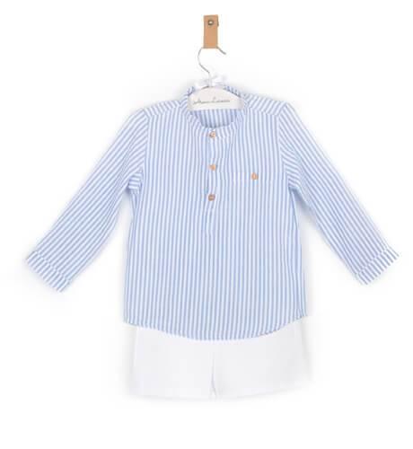 -NUEVO- Conjunto niño camisa a rayas azul Valentina Bebés | Aiana Larocca