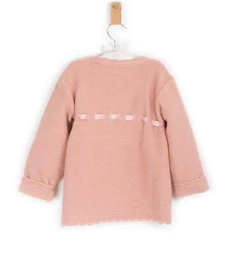 Abrigo bebe niña punto rosa de Valentina Bebés   Aiana Larocca