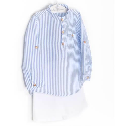 Conjunto niño camisa a rayas azul Valentina Bebés   Aiana Larocca