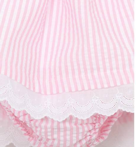 Jesusito bebé niña a rayas rosa de Valentina Bebés | Aiana Larocca