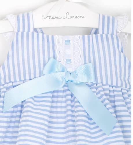 Jesusito bebé niña a rayas azul de Valentina Bebés | Aiana Larocca