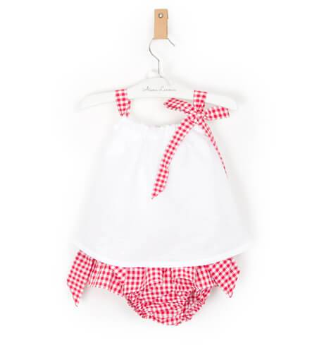 Conjunto bebé braguita vichy rojo y blusa de Valentina Bebés | Aiana Larocca