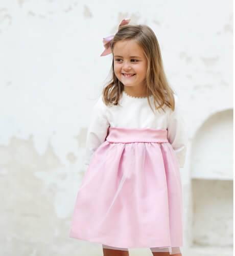 Vestido niña ceremonia rosa con tul perla y lazada | Aiana Larocca