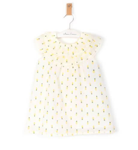 Vestido niña estampado piñas lazo espalda de Coco Acqua | Aiana Larocca