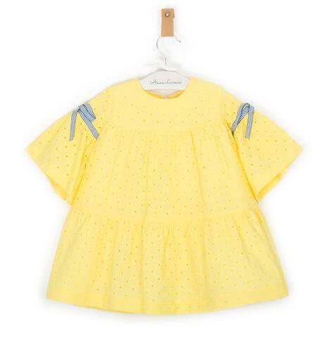Vestido niña perforado amarillo de Rochy | Aiana Larocca