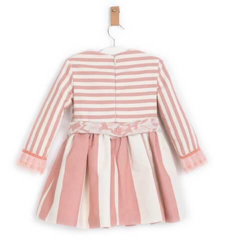 Vestido niña corte cintura a rayas con fajin de Nekenia | Aiana Larocca