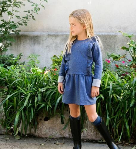 Vestido niña denim volantes de Ancar | Aiana Larocca