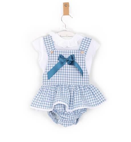 -NUEVO- Pichi vichy azul con blusa de Valentina Bebés | Aiana Larocca