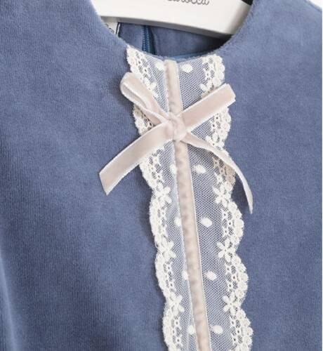 Vestido niña cuerpo velveton azul y falda combinada beige de Nekenia | Aiana Larocca