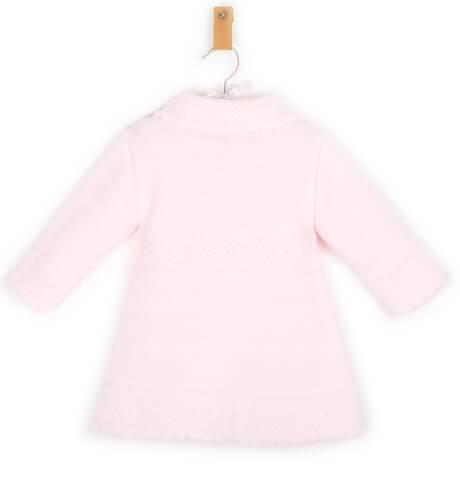 Abrigo niña punto rosa con capota de Dolce Petit | Aiana Larocca
