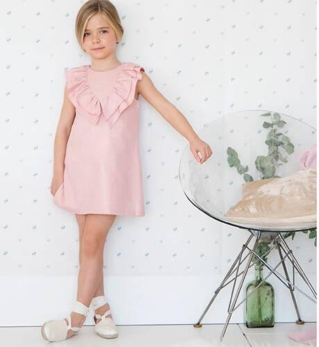 -NUEVO- Vestido niña rosa volantes cuello pico de Eve Children | Aiana Larocca
