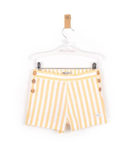 -NUEVO- Pantalón corto a rayas amarillo de José Varón | Aiana Larocca