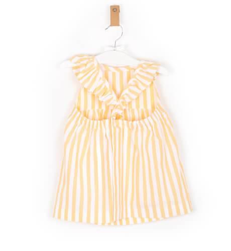 Vestido niña a rayas amarillo de José Varón | Aiana Larocca