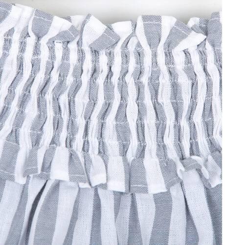 Falda niña a rayas gris de José Varón | Aiana Larocca