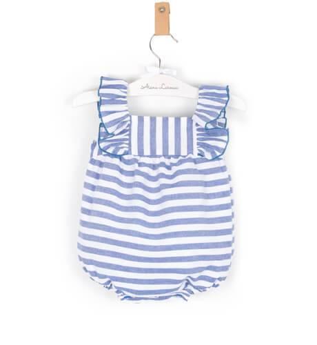 3891328b7 Ranita bebé a rayas azul de Mon Petit Bonbon
