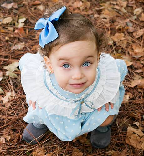 Vestido niña viella plumeti azul de Marta y Paula | Aiana Larocca