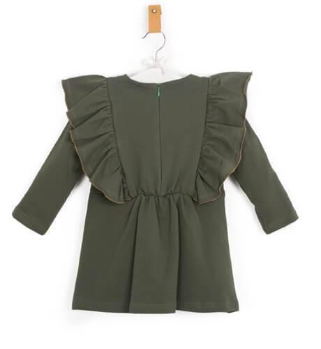 Vestido verde volantes laterales de Eve Children | Aiana Larocca