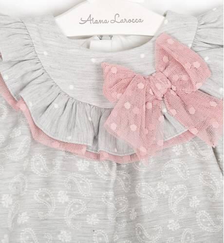 Vestido evasé gris lazo tul rosa de Dolce Petit | Aiana Larocca