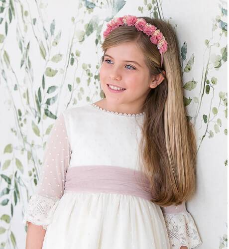 Vestido niña ceremonia tul plumeti bordado | Aiana Larocca