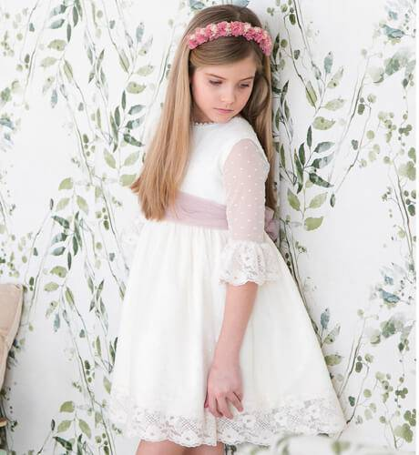 EID AL FITIR Girl dress with tulle plumeti & pink bow | Aiana Larocca