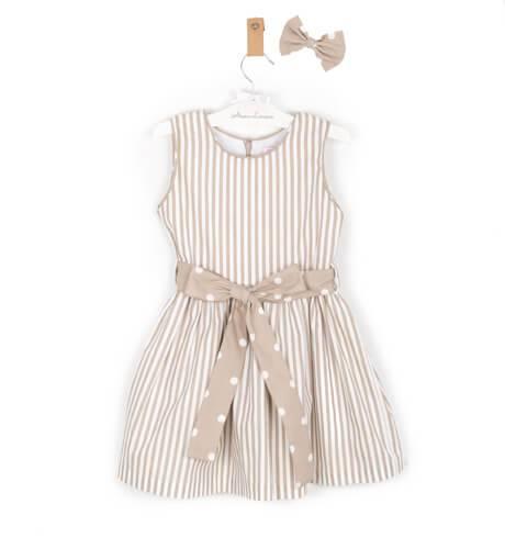 Vestido niña a rayas tostado lazada topitos | Aiana Larocca