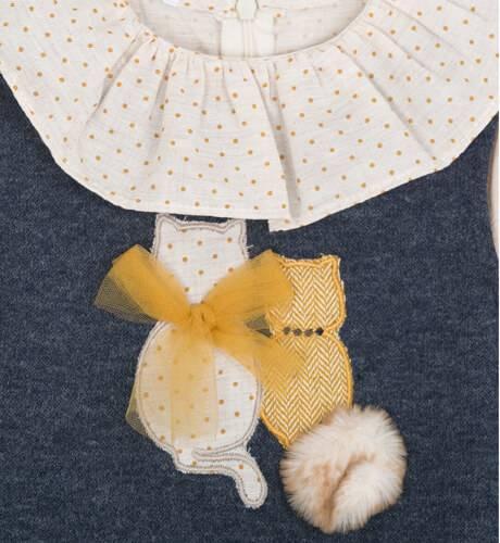 Conjunto niña falda mostaza y chaleco gatitos de Coco Acqua   Aiana Larocca