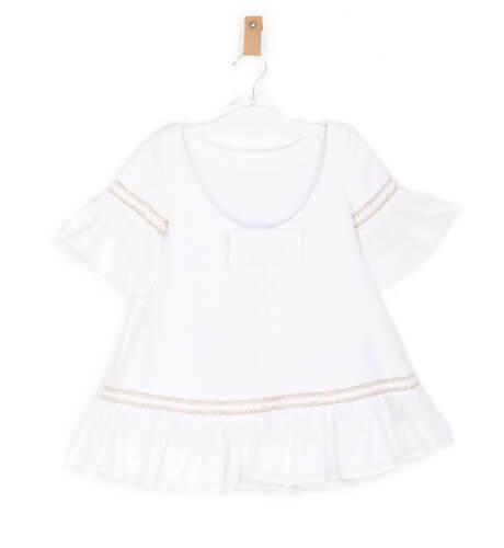 Vestido niña blanco manga francesa de Cocote | Aiana Larocca