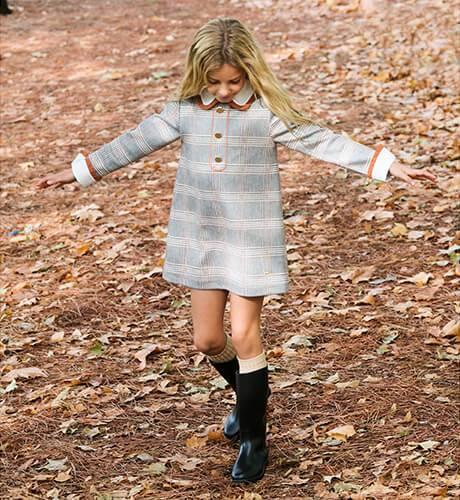 Vestido niña a cuadros gris detalle mostaza de Marta y Paula | Aiana Larocca