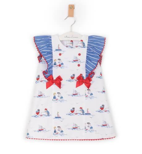 Vestido bebé estampado barquitos lazos rojo de Yoedu | Aiana Larocca