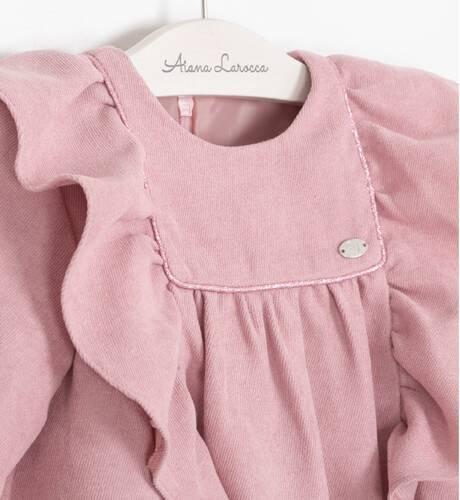 Vestido rosa volantes laterales de Yoedu | Aiana Larocca