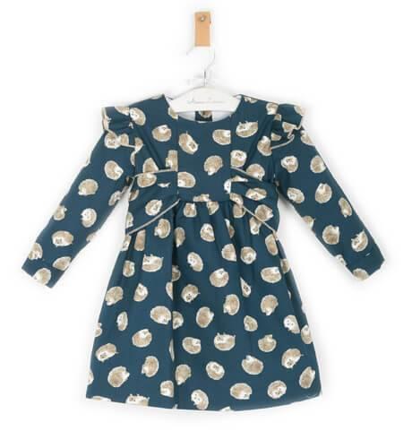 Vestido niña azul estampado erizos de Baby Yiro | Aiana Larocca