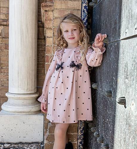 Vestido niña rosa lunares negros de Nekenia | Aiana Larocca