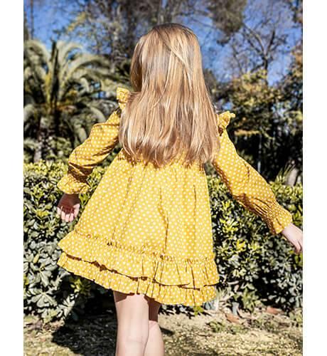 Vestido niña mostaza corazoncitos de Nekenia | Aiana Larocca