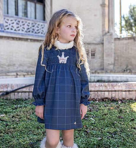 Vestido niña a cuadros azul marino engomado de Nekenia | Aiana Larocca