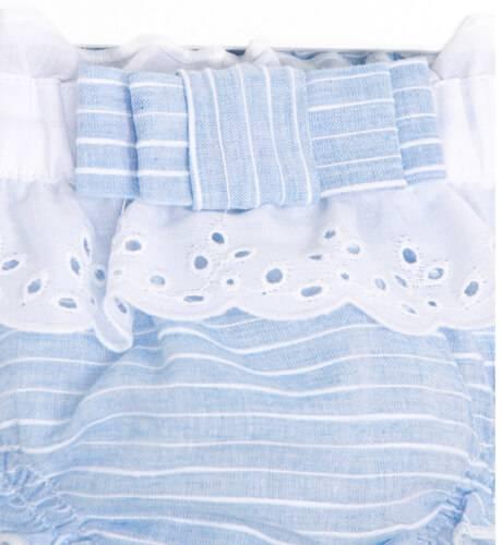 Braguita bebé azul a rayas con puntilla de Cocote | Aiana Larocca