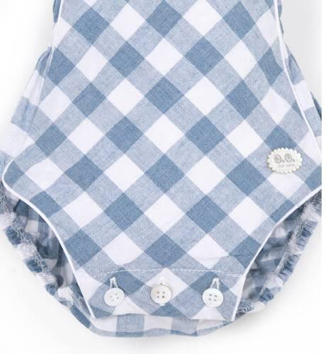 Ranita bebé peto rombos azul de José Varón | Aiana Larocca