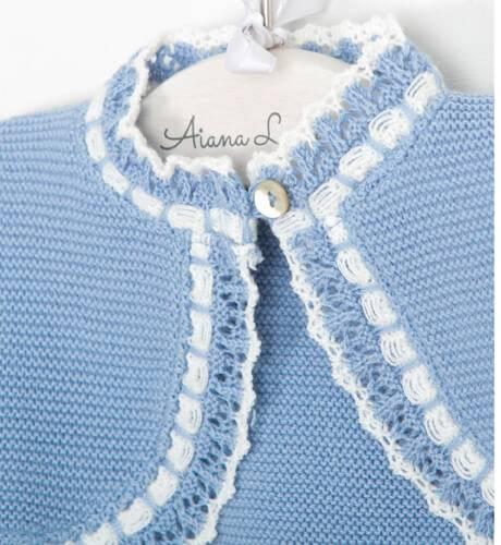 Bolero azul empolvado combinado de Valentina Bebés | Aiana Larocca