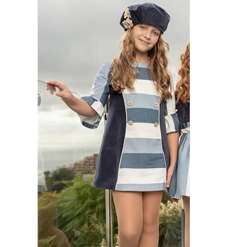 Vestido combinado a rayas azul de Nekenia | Aiana Larocca