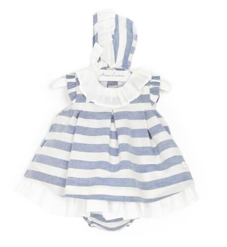 -NUEVO- Jesusito bebé niña a rayas azul con capota de Cocote | Aiana Larocca