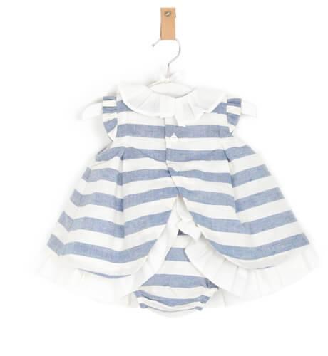 Jesusito bebé niña a rayas azul con capota de Cocote | Aiana Larocca
