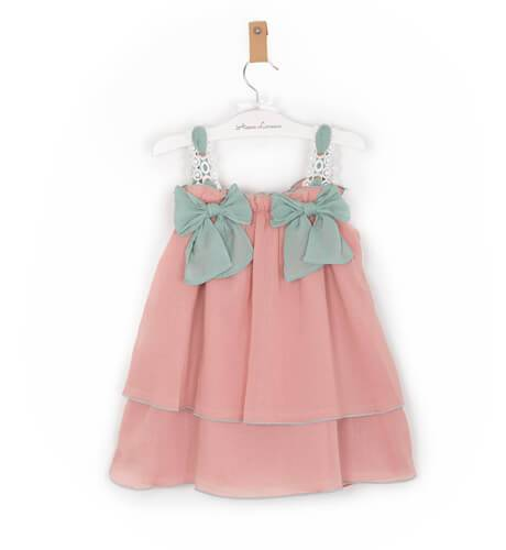 Vestido niña hortensia rosa lazo verde de Rochy | Aiana Larocca