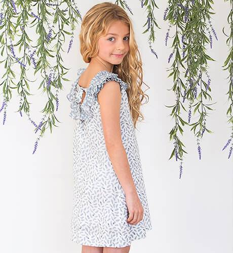 Vestido hojas azul grisáceo escote detrás de Ancar | Aiana Larocca