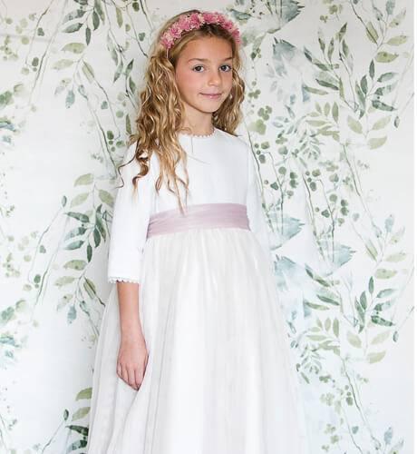 Vestido niña Comunión tules liso | Aiana Larocca
