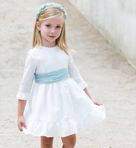 Vestido niña plumeti crudo lazada tul verde | Aiana Larocca