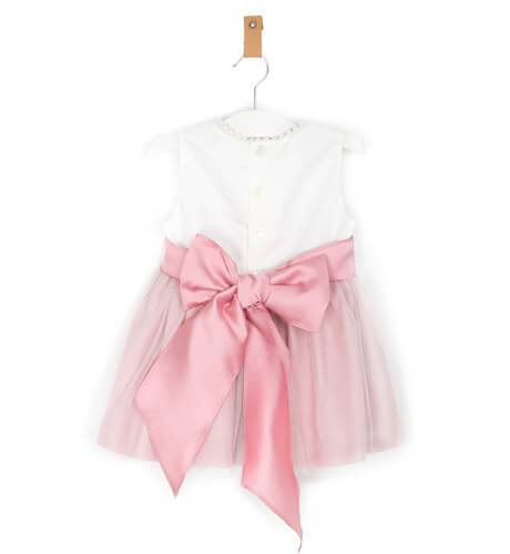 Vestido ceremonia rosa tul perla sin mangas | Aiana Larocca