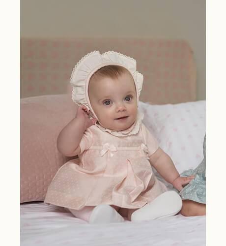 Jesusito bebe rosa lacitos con capota de Dolce Petit | Aiana Larocca